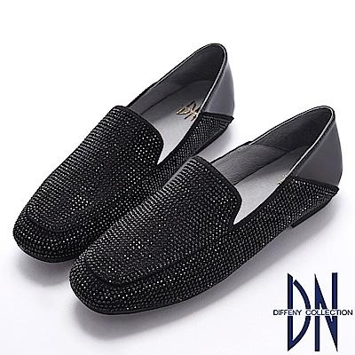DN 注目焦點 滿鑽二穿真皮懶人樂福鞋-黑