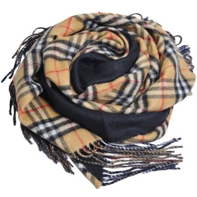 BURBERRY 蘇格蘭製經典格紋100%喀什米爾造型三角圍巾/披肩(黑/格紋)