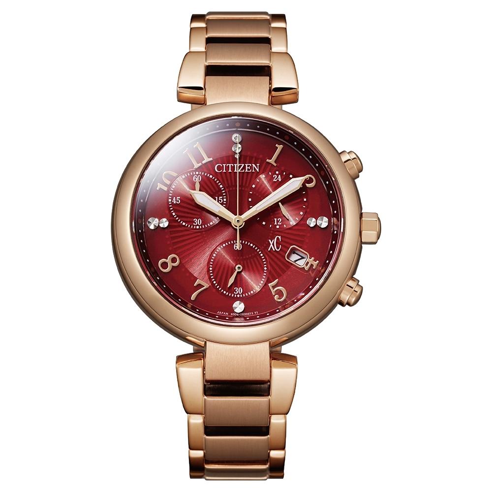 CITIZEN 星辰XC 優雅紅寶石亞洲限定款鋼帶錶35mm(FB1453-55W)