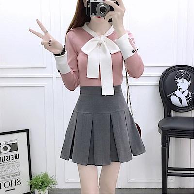 DABI 韓系蝴蝶結針織衫高腰半身裙套裝長袖裙裝