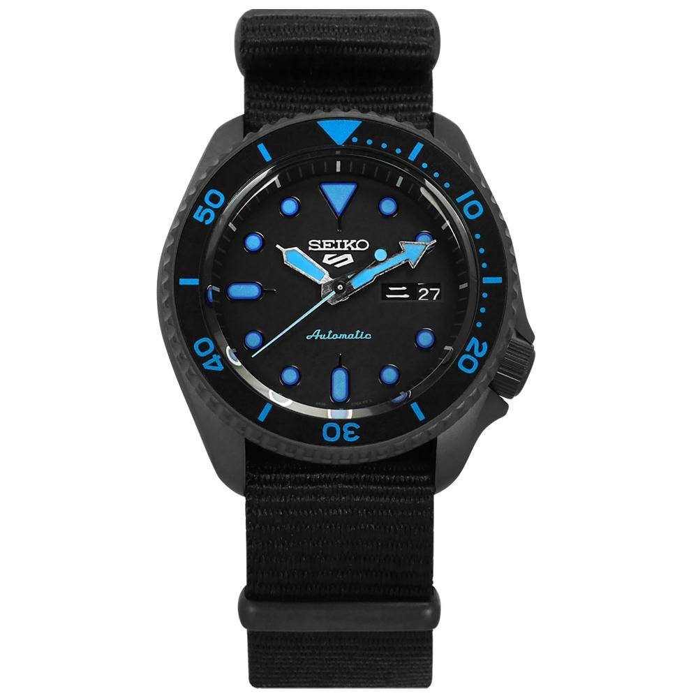 SEIKO 精工  5 Sports 機械錶 自動上鍊 尼龍帆布手錶 黑色 41mm