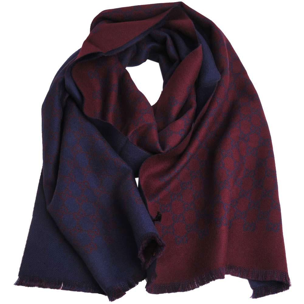 GUCCI SU SOGI 經典GG LOGO羊毛雙面寬版造型圍巾(酒紅/深藍)GUCCI