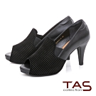 TAS異材質拼接魚口高跟鞋-俐落黑