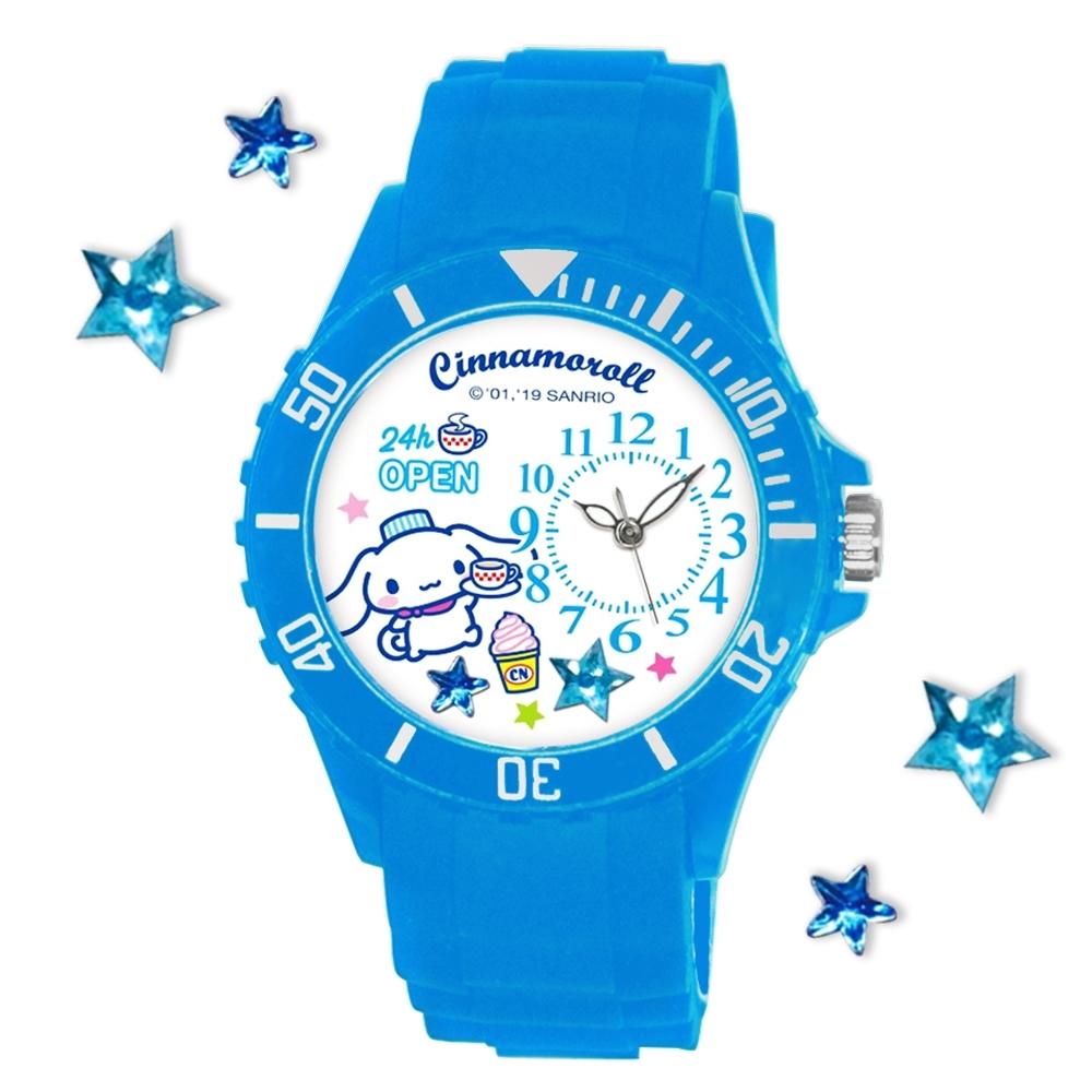 Sanrio三麗鷗偏機芯貼鑽系列運動彩帶錶-Cinnamoroll大耳狗喜拿40mm水藍色