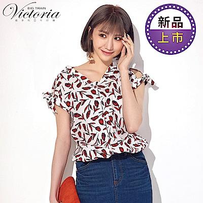 Victoria立領變化袖抽縐綁帶短袖T-女-白底紅花