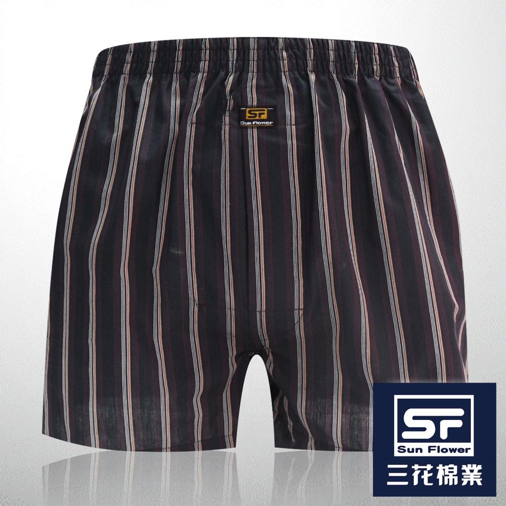 男內褲 Sun Flower三花 5片式平口褲.四角褲_黑條紋