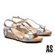 涼鞋 AS 時髦異材質拼接工字造型楔型高跟涼鞋-白 product thumbnail 1