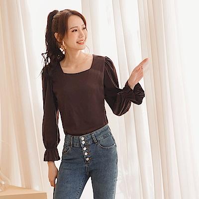 韓系優雅質感純色方領荷葉袖口拋袖上衣-OB大尺碼