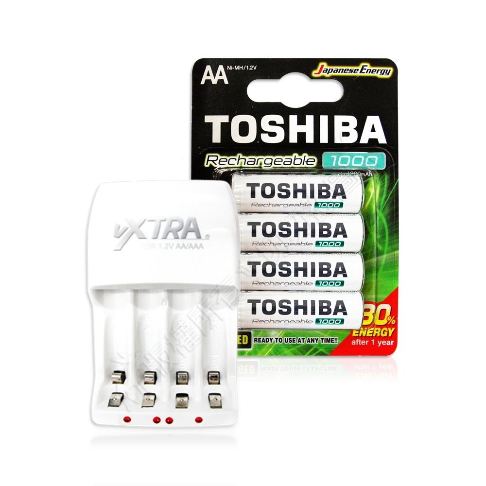 TOSHIBA東芝3號低自放電鎳氫充電電池1000mAh(4顆)+VXTRA新經濟型充電器