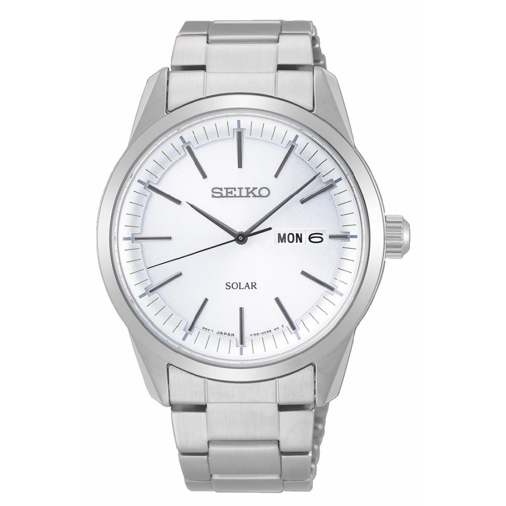 SEIKO精工 質感簡約太陽能時尚腕錶V158-0BE0S/SNE523P1