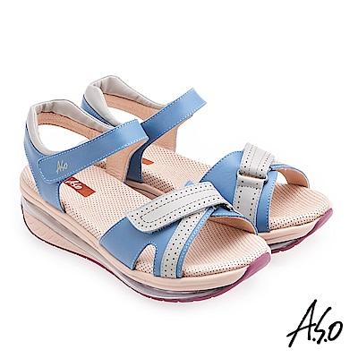 A.S.O超能力 撞色皮革魔鬼氈奈米休閒涼鞋 藍