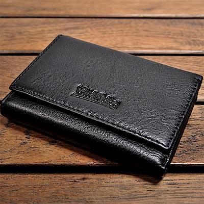 H-CT Wild Tribe系列顯卡式零錢包設計真皮口袋夾/黑(WT513B)