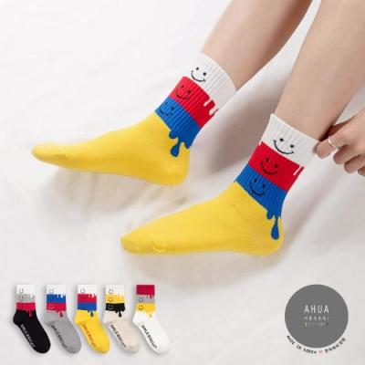 阿華有事嗎  韓國襪子 微笑融化四色拼接中筒襪 韓妞必備 正韓百搭純棉襪