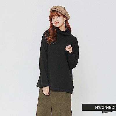 H:CONNECT 韓國品牌 女裝-高領純色上衣-黑