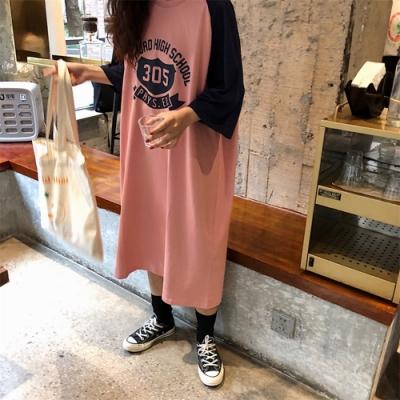La Belleza圓領袖拼接配色305英文字印花長版棉質洋裝