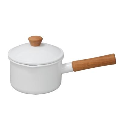 日本野田琺瑯 Couleur系列木柄單手鍋14cm(米、白兩色任選)