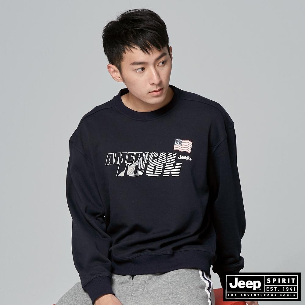 Jeep 男裝 科技感LOGO長袖大學T-深藍