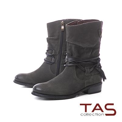TAS繫踝綁帶抓皺金屬圓扣牛皮中筒靴–草墨綠