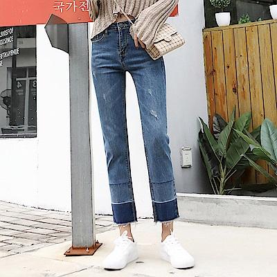 ALLK 褲管配色9分牛仔褲 藍色(尺寸27-31腰)