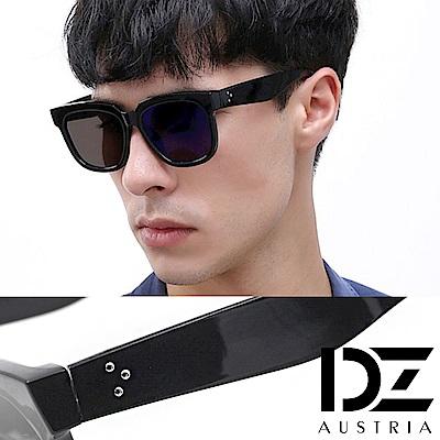 DZ 平版型三釘飾 抗UV太陽眼鏡造型墨鏡(亮黑系)