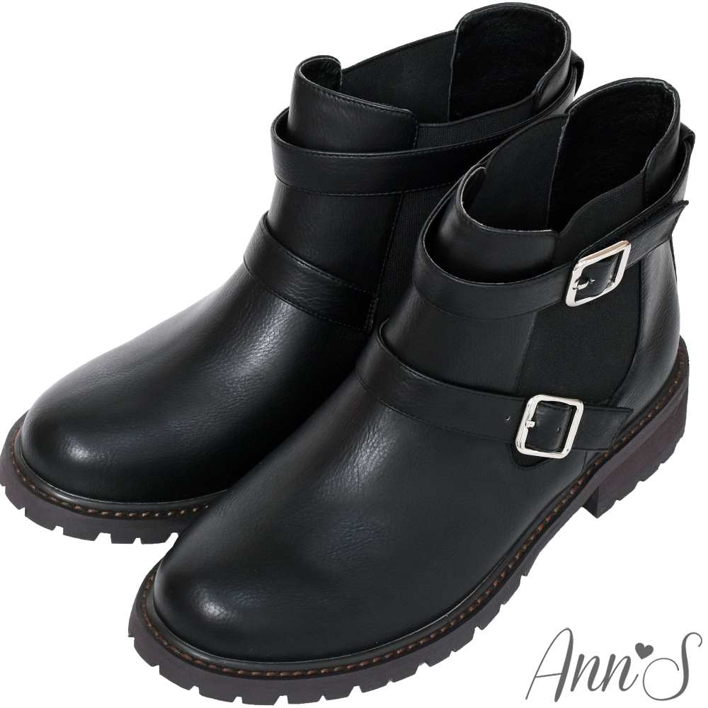 Ann'S兩穿雙扣帶後跟星星鉚釘小男孩平底短靴-黑