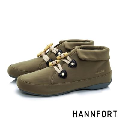 HANNFORT RIPPLE 翻領橄欖扣防風短靴-女-褐灰