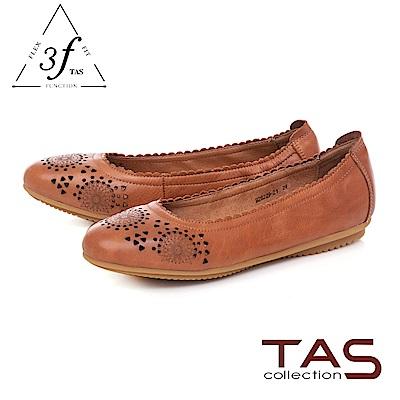 TAS 幾何鏤空造型平底娃娃鞋-質感卡其