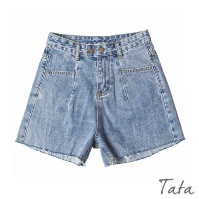 壓扣抽鬚牛仔短褲 TATA-(S~L)