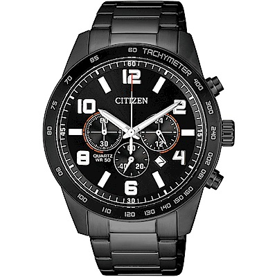 CITIZEN星辰 運動潮流 三眼計時手錶(AN8165-59E)-黑/44mm