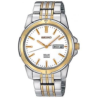 SEIKO 商務風尚雙色調太陽能石英腕錶(SNE094P1)-白/42mm