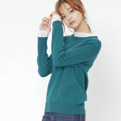 H:CONNECT 韓國品牌 女裝-拼接蕾絲小立領針織衫-綠(快)