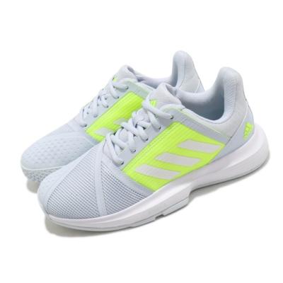 adidas 網球鞋 CourtJam Bounce 運動 女鞋 愛迪達 避震 包覆 支撐 球鞋 訓練 淺藍 黃 FX1524
