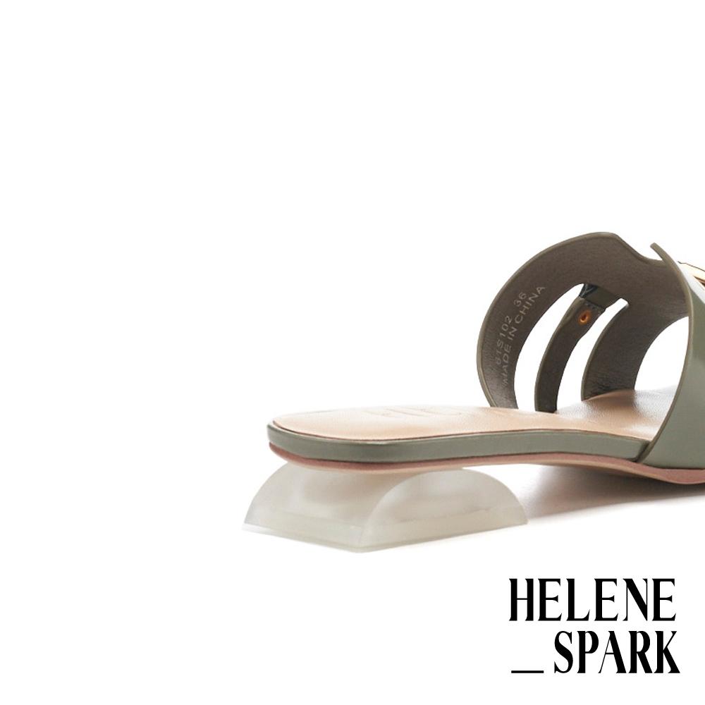 拖鞋 HELENE SPARK 輕奢金屬風鏈釦開邊珠軟牛皮方頭低跟拖鞋-綠