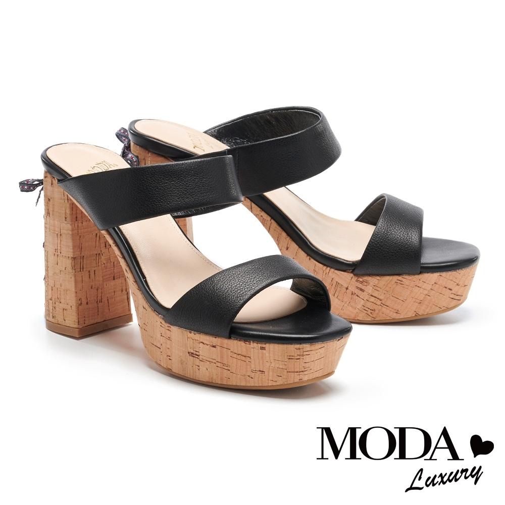 拖鞋 MODA Luxury 小馬甲綁帶造型超高防水台高跟拖鞋-黑