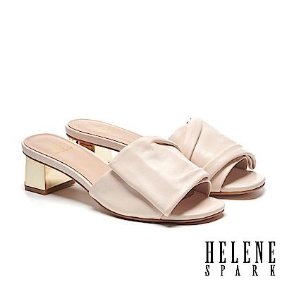 拖鞋 HELENE SPARK 時尚抓皺感全真皮金屬粗方跟拖鞋-米