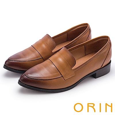 ORIN 懷舊復古學院風 雙色蠟感牛皮樂福鞋-棕色