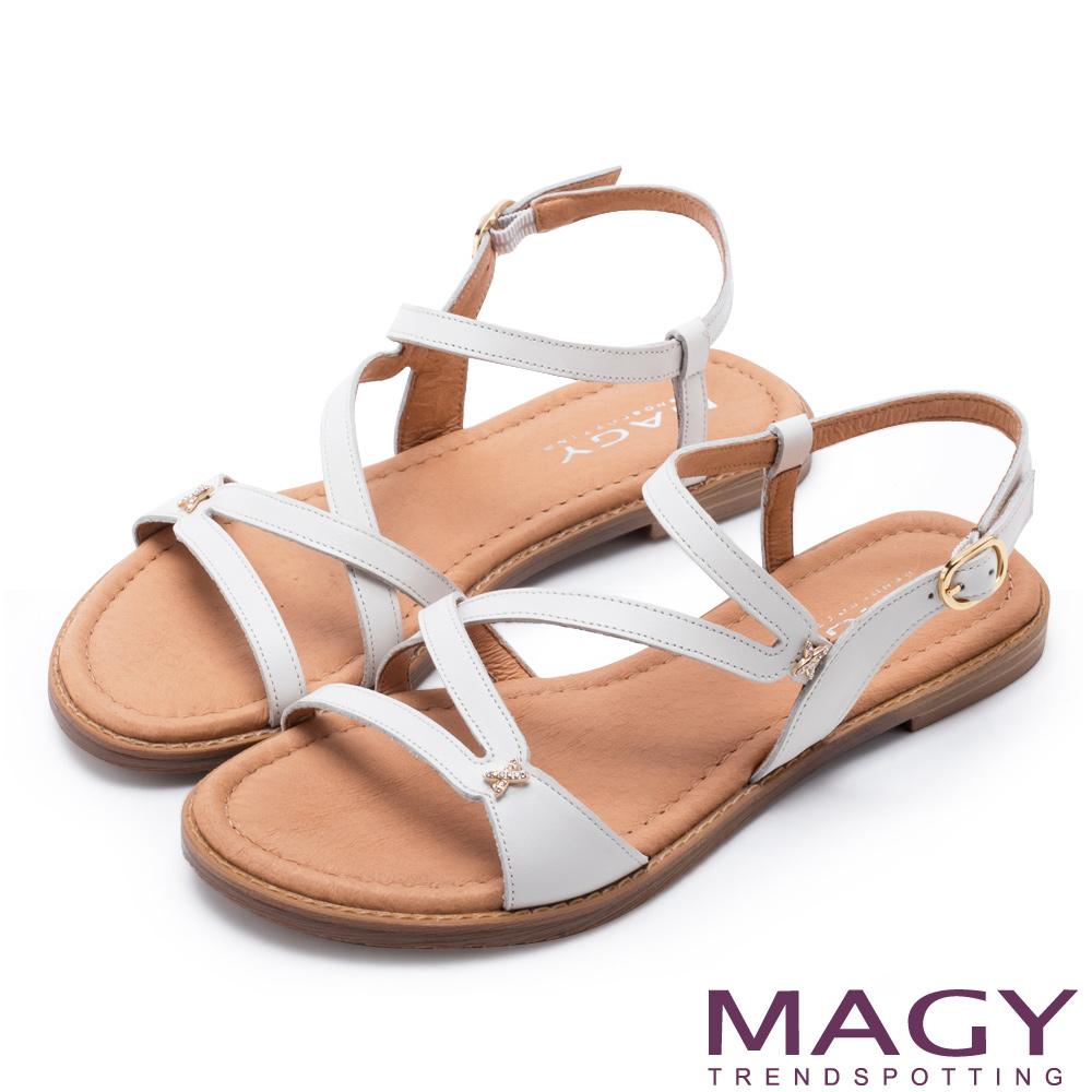 MAGY 造型剪裁皮革平底涼鞋 白色