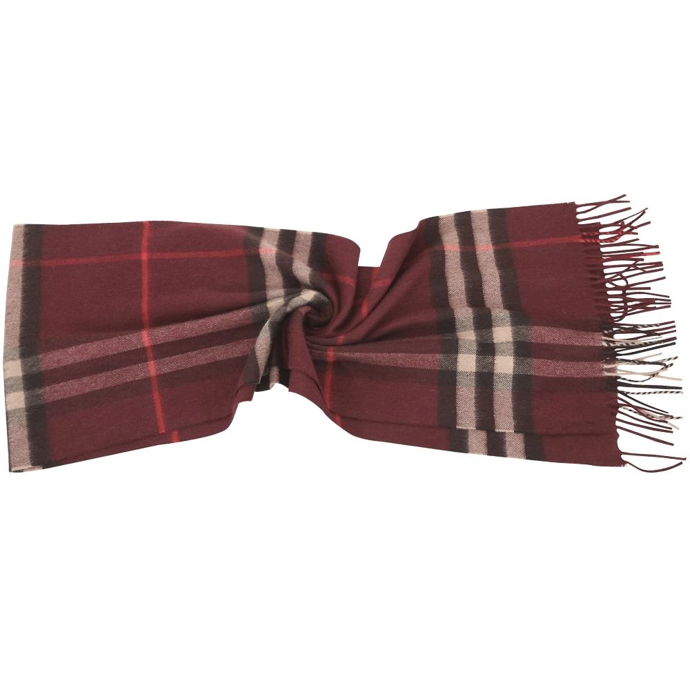 BURBERRY 100%喀什米爾 酒紅色格紋羊毛圍巾