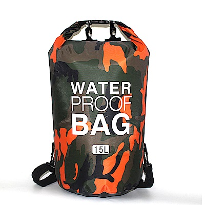 PUSH!戶外用品迷彩溯溪防水包漂流袋15L P131