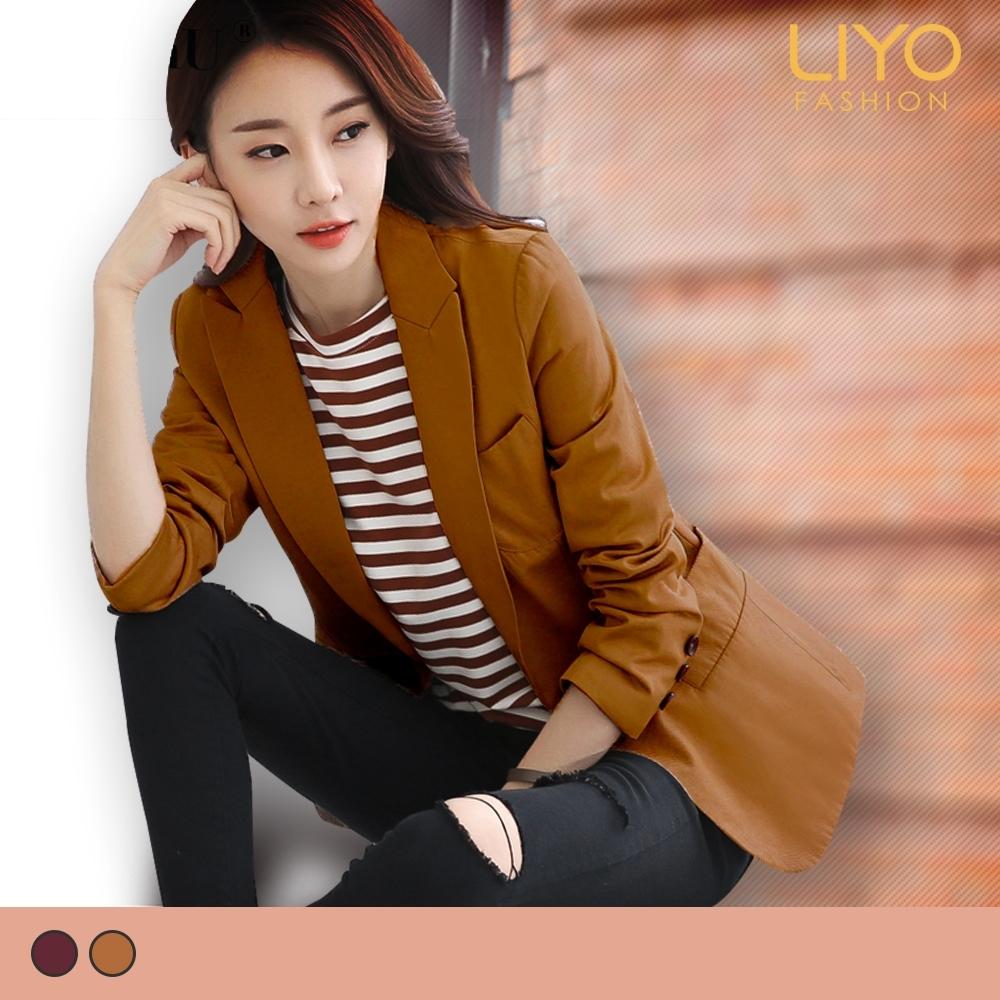 外套-LIYO理優-MIT翻領顯瘦口袋女西裝刷毛保暖外套-E838001