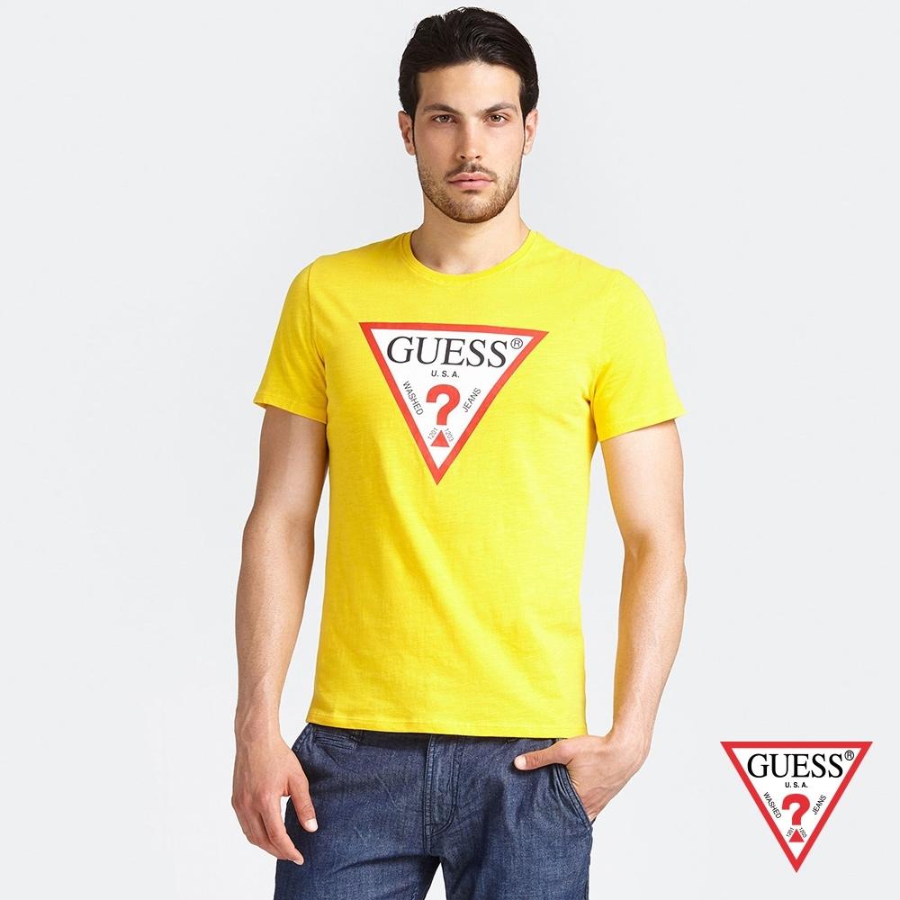 GUESS-男裝-經典倒三角LOGO短T,T恤-黃 原價1290