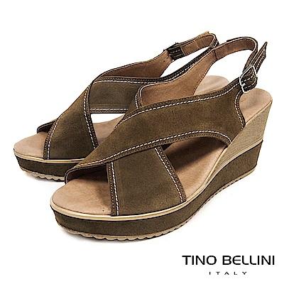 Tino Bellini 西班牙進口寬帶交叉魚口楔型涼鞋 _ 棕綠