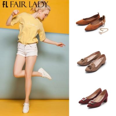 「時時樂限定」Fair Lady經典麂皮尖頭粗跟鞋/低跟/平底 共6款