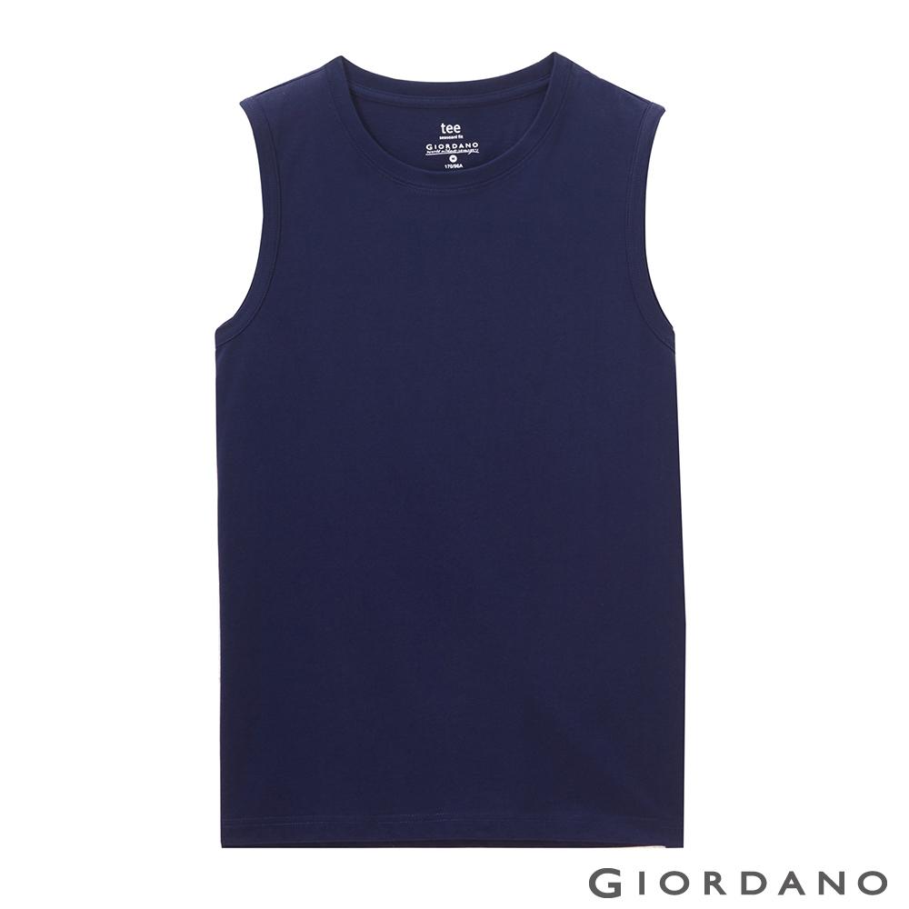 GIORDANO 男裝純棉素色無袖背心-03 標誌海軍藍