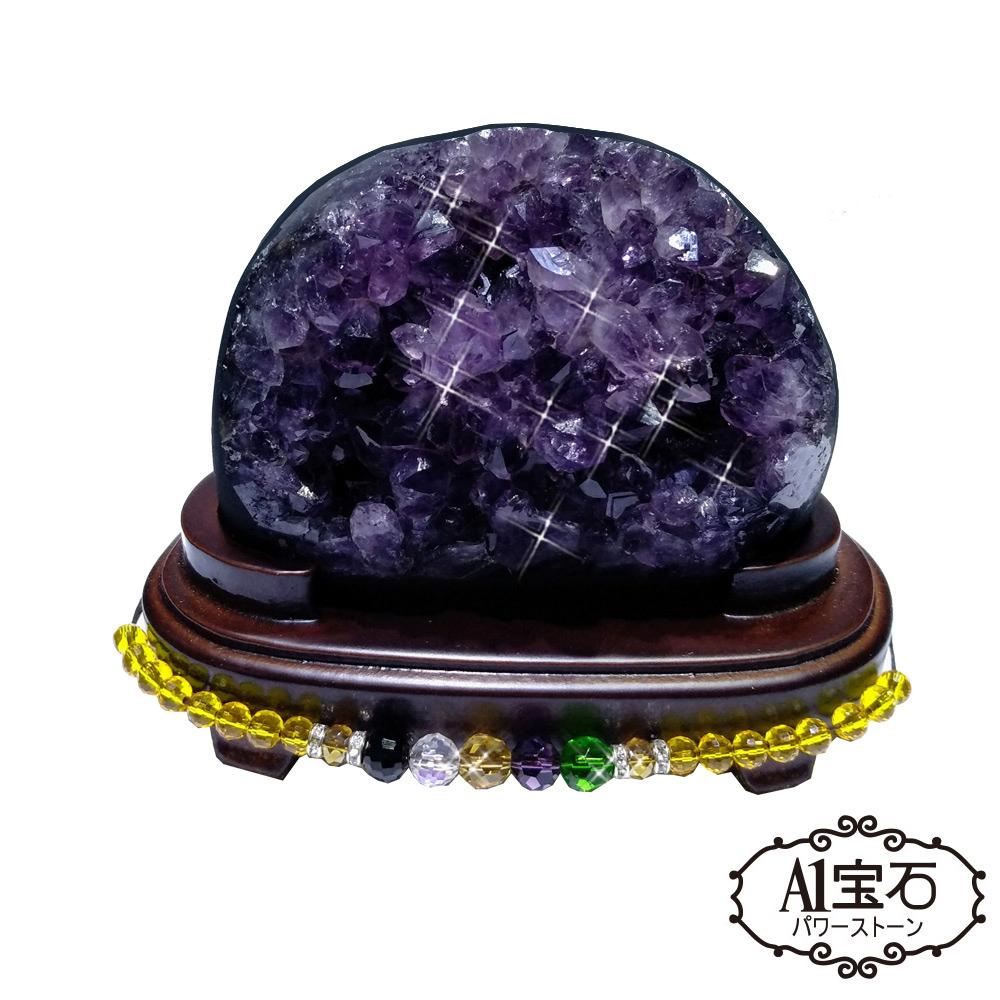 A1寶石  頂級巴西天然紫晶鎮/陣-同烏拉圭水晶洞功效840g(贈五行木座)