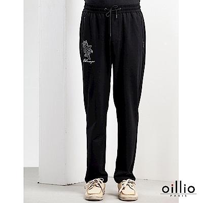 歐洲貴族oillio 休閒針織長褲 老鷹電腦刺繡 質感穿搭  黑色