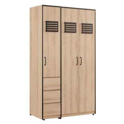 文創集 波德 現代4尺三抽雙吊衣櫃/收納櫃組合-120x56.5x196.5cm免組
