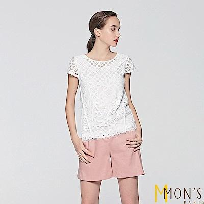 MONS-棉麻素面修身短褲