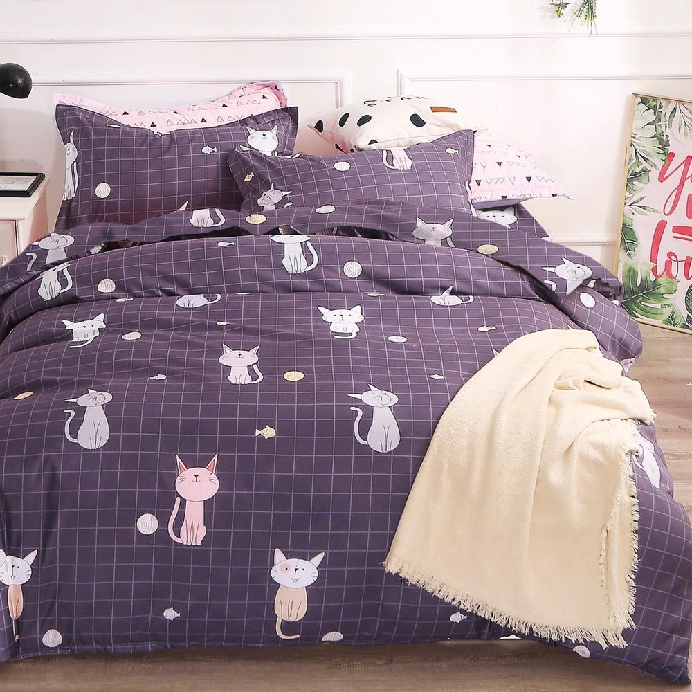 Goelia 又見貓咪 親膚舒柔活性印染超細纖雙人床包枕套三件組