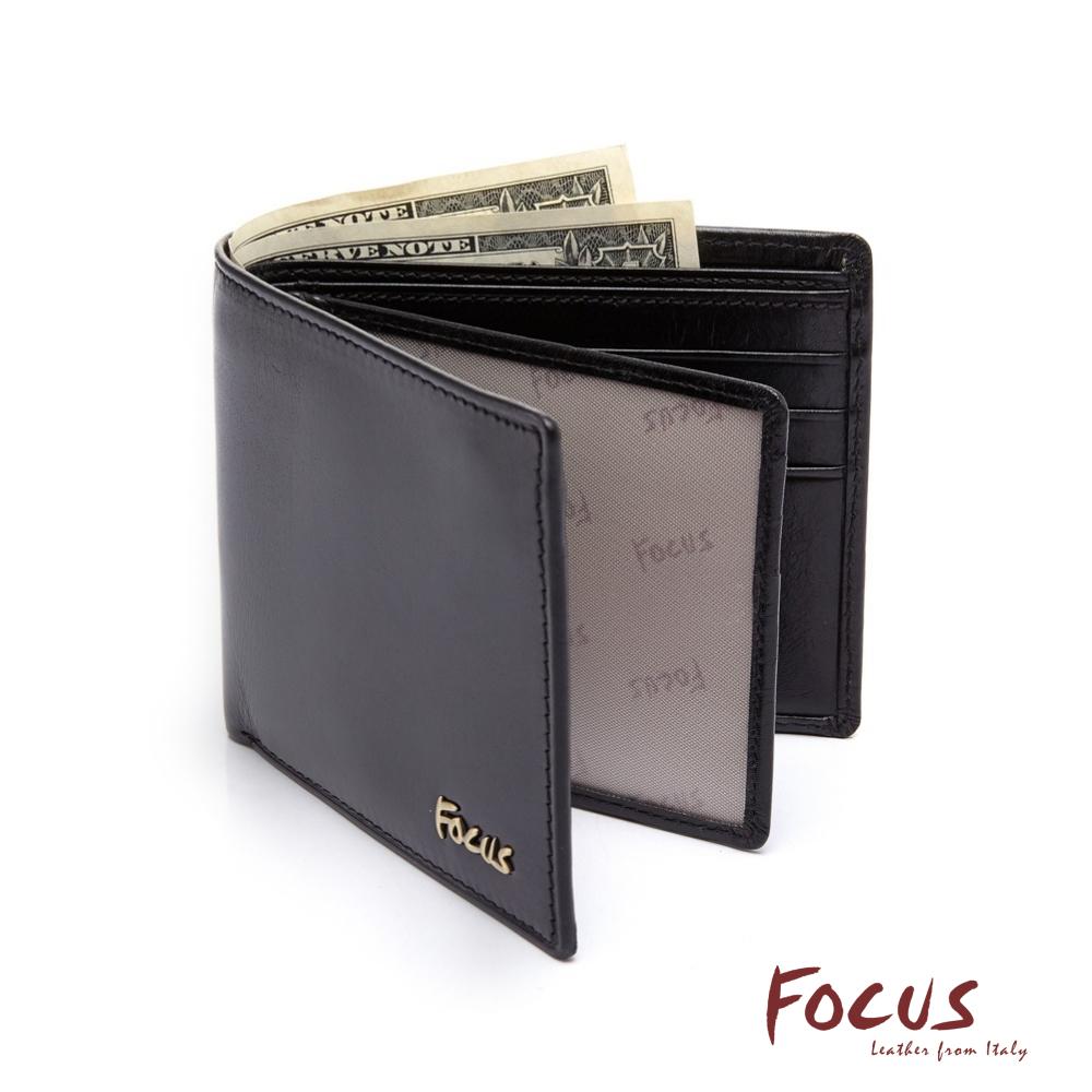 FOCUS原皮時尚黑雙透明窗左右掀拉鏈男短夾(FGB2299)